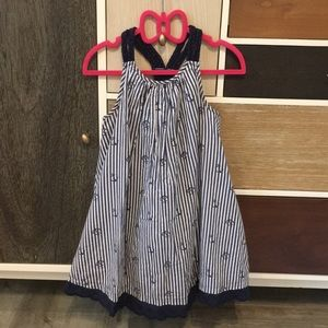 Blue and white striped cotton anchor dress